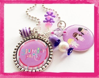 SLUMBER PARTY - Personalized Girls Bezel Necklace - Sleepover Birthday Gift - #B39