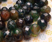 Deep Sea Faceted Glass Donut Beads 6x8mm - 8pc
