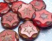 Deep Red Star Glass Beads 15mm - 4pc