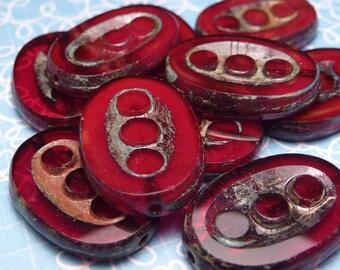 Red Velvet Glass Oval Beads 18mm - 4pc