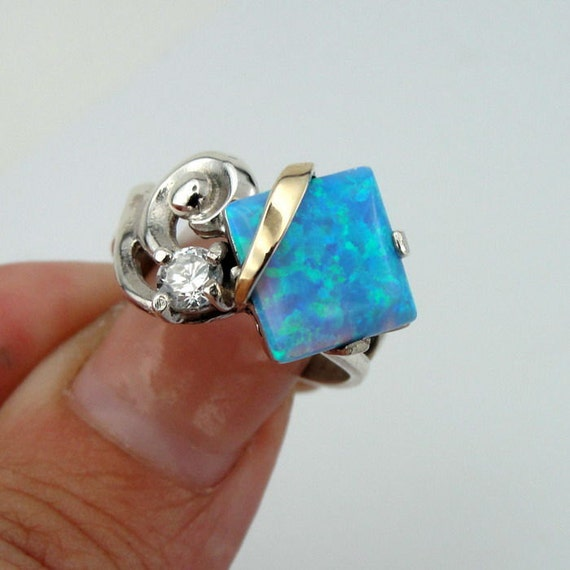 New 9K Yellow Gold Sterling Silver Opal CZ Ring, Hand Made Opal 925 Silver Ring, Size 7, October birthstone, Blue Stone Ring, Israel Jewelry