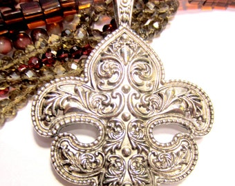 Fleur De Lis pendant antique silver Findings oversized 72mm x 100mm  B991 medieval jewelry statement jewelry 16as-SR3-3