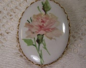 Vintage Porcelain Oval Cameo Brooch, Hand Painted, Decoupage, Pink Rose, Flower Pin, Gold Retro Bridal Estate Jewelry, Wedding Charm