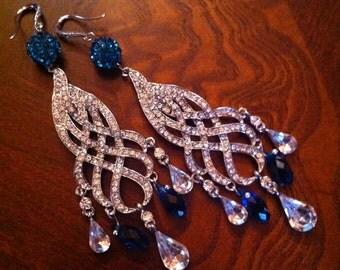 Swarovski Peacock and Rhinestone Chandelier Earrings on Rhinestone wires by Lauri Jon Studio City