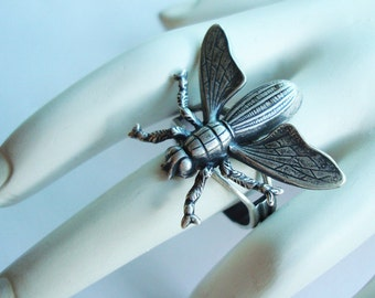 Bug Ring, Not A Fly On The Wall But YOUR Finger, Adjustable, Handmade, Sterling Silver Ox Plate, Metal Bonded Together NOT Glued For Quality