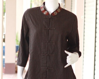 SALE 15% + FREE SHIPPING--M032-1--- Beautiful pleats cotton blouse with colourful circles