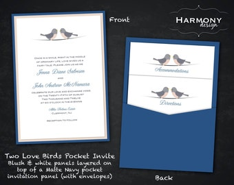 Two Love Birds Pocket Invitation, Navy Blue, Blush Pink, and Gray - Design Fee