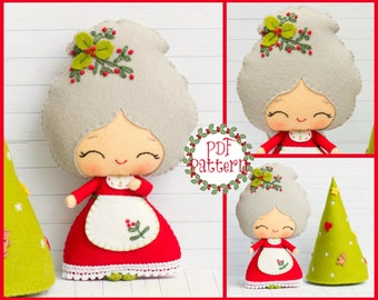 PDF Pattern. Mrs. Santa with a Christmas tree