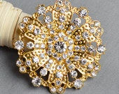 Rhinestone Brooch Embellishment Crystal Pearl Gold Wedding Brooch Bouquet Cake Invitation Decoration Hair Comb Shoe Clip BR341