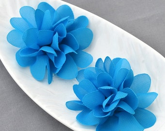 6 Turquoise Blue Chiffon Flower Rose Soft Chiffon Fabric Silk Flowers Bridal Wedding Garter Baby Hair Comb Headband Clip SF112