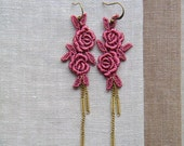 Twin Roses Lace Earrings with Vintage Chain-silver-lace-dangle-vintage-dancingleafdesign