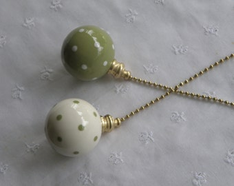 Set of Ball Style Pottery Ceiling Fan/Light Pulls (Ceramic) - Sage Green and White Polka Dotted - Made in the USA