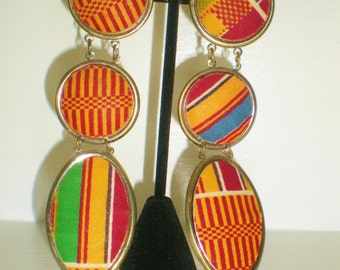 "Vintage African Kente Cloth Hippie Orange Red Green Plaid Dangle Earrings 5"" Runway  Retro Chic Pop Art Bride Avant Garde Statement"