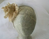 Boho Wedding Headband Rustic Brides Headpiece Re imagined vintage lace  Tea stained cabbage rose