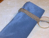 EYE GLASSES CASE with Tan Trim,  Blue Velveteen, Soft. Glasses, Reading Glasses, Sun Glasses, Protective, Gift, Handmade in Appalachia