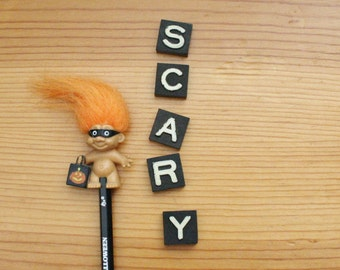 scary halloween decor vintage game piece letters typography