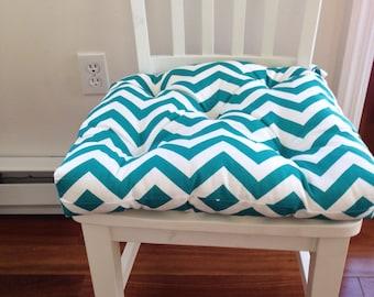 Tufted chair pad, seat cushion, bar stool cushion, Turquoise blue on white chevron zig zag