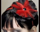 Black and red feather headband