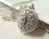 Prayer Box Necklace, Sterling Silver Locket, August Birthstone Locket, Peridot Jewelry, Peridot Locket, Push Present Locket, Sterling Locket