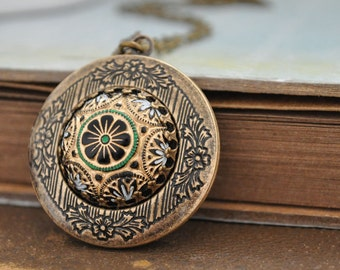womens jewelry locket necklace - THE RUSSIAN PRINCESS - hand painted pressed glass cab locket necklace in antiqued brass