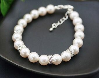 Wedding Jewelry Bridal Bracelet Bridesmaid Bracelet Bridesmaid Jewelry Swarovski Pearls with rhinestone rondelles Flower girl Bracelet