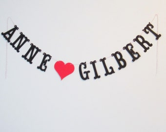 Custom Couple's Names Banner - up to 25 letters with your choice of colors - Wedding, Shower, Party, or Photo Prop