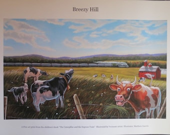 Digital Print of 'Breezy Hill' Oil Illustration