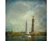 Guided by Love  sailing, lighthouse, summer, heart shaped clouds, nautical print, seascape