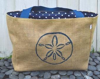 Handmade Sand Dollar Burlap Market Tote Bag