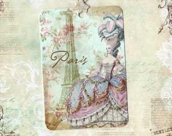 Tags, French Style, Marie Antoinette, Paris Chic, Party Favors, Gift Tags