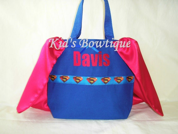 Monogrammed Super Boy with Cape Tote Bag - Personalized Halloween Superhero Trick or Treat Bag