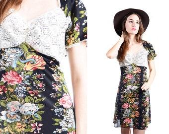 Vintage Boho Floral Dress Medium/Large