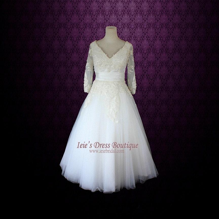Retro wedding dress tea length wedding dress long sleeves for Have wedding dress made