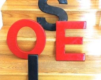 Vintage Plastic Red Letter E, Industrial Alphabet Letter E