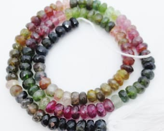 SALE WAS 42.99 Faceted Tourmaline Gemstone Multi Color 4mm Rondelles13.5 Strand Wholesale Price