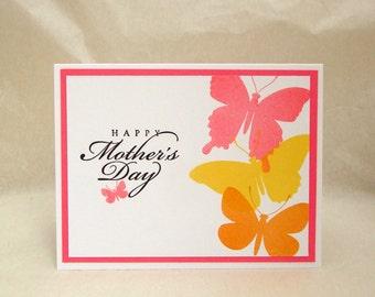 Mother's Day Card, Butterfly Mother's Day Card, Spring Butterflies, Pink Orange and Yellow Mother's Day Card
