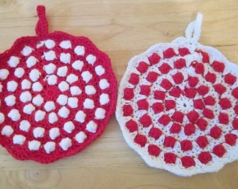 Potholder - Set of Two Crochet Potholder - Round in White and Red