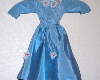 1940s Blue Taffeta Doll Dress 15 inches long