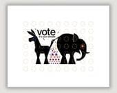 Funny Political Art, Vote, political satire, republican elephant, democrat donkey, 2016 election, political poster, dorm poster, patriotic