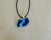 """Dichroic Etched Fused Glass Charm Pendant, Hang """"10"""" - SURF'S UP"""