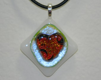 Dichroic Etched Fused Glass Charm Pendant, Heart, PC13
