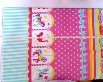 Cotton fabric, Japanese fabric, Lolita, Carousel, Teacups, Pastel color fabric, DIY crafts fabric, 1 yard FB132