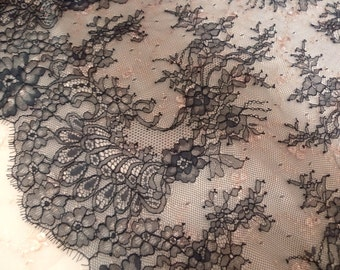 Black lace, Embroidered lace, Sheer lace,  Double edge lace, Scalloped lace 2 1/2 yards BK118