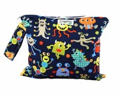 Wet Bag w/ Indestructable PUL -Monster Mash - Diaper Bag Essential - Baby Shower Gift  For Baby Boy
