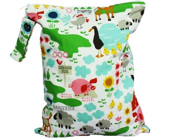 LARGE Wet Bag For Cloth Diapers, Mama Cloth, Cloth Pads, Beach Bag, and More  - Farm Fun - FAST SHIPPING