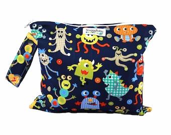 Wet Bag w/ Indestructable PUL -Monster Mash - Diaper Bag Essential - Baby Shower Gift  For Baby Boy