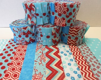 Aqua and Red Quilt Fabric Strips Jelly Roll by SEW FUN QUILTS