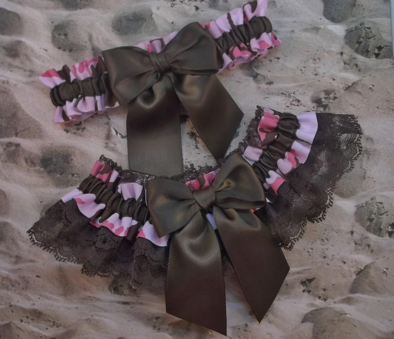 Pink Camo Camouflage Ribbon Brown Lace Bridal Wedding Garter