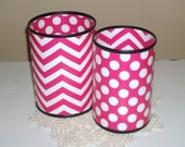MORE COLORS AVAILABLE Fun Desk Accessories, Magenta Chevron and Polka Dots Desk Accessories, Desk Organizer, Pink Pencil Holder - 907