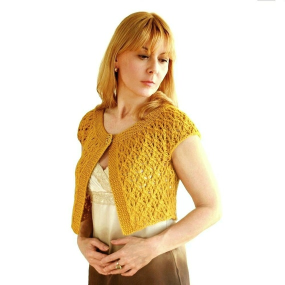 Lace Wedding Bolero Honey Mustard Bella Shrug Lace Gold Honey Yellow Hand Knit Wool XS S